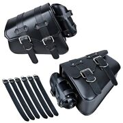 Motorcycle Or Bicycle Leather Side Pouch Saddle Bags Set Of 2 Bags