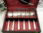 Antique Set Of Old English Dessert Spoon Silver Plated 925 Epns With Travel Case