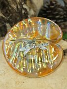 Neo Art Glass Iridescent Orange Lily Pad Paperweight Silver Dragonfly K.heaton