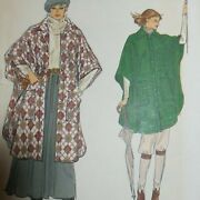 Vintage 1970s Very Easy Vogue Poncho 9890 Sewing Pattern S Uncut