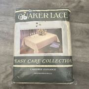 """Vintage Quaker Lace Tablecloth 70"""" Round 100 Polyester Care Free Elegance Nip"""