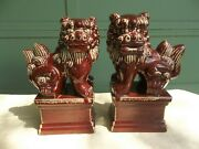 Pair Of Bombay Chinese Red Glazed Ceramic Foo-dog Statues Guardian Luck Wealth