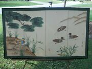 Vintage Asian 4 Panel Folding Screen Hand Painted Ducks On Pond 5 Marks Signed