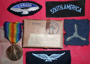 Aug05 British Ww1 Victory Medal Named In Box Raf With Patches