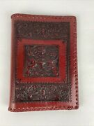 Vintage Red Leather Book Bible Journal Cover Embossed Tooled Dragons And Scrolls