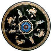 42 Inch Marble Dining Table Top Inlay Semi Precious Stones Coffee Table For Home