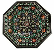 27 Inches Marble Coffee Table Top Inlay Multi Color Stones Patio Table For Lawn