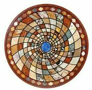 30 Inches Marble Coffee Table Top Inlay Multi Color Stones Patio Table For Lawn