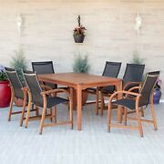 7 Pcs Outdoor Patio Dining Set Eucalyptus Wood Table And Chair Furniture Sets