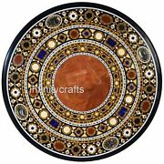 48 Inches Marble Dining Table Top Inlay Semi Precious Gemstones Reception Table