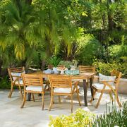 7 Pcs Outdoor Patio Dining Set Acacia Wood Table And Chair Furniture Sets Teak