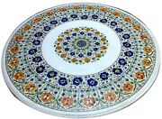 42 Inch Marble Dining Table Top Inlay Floral Design Hallway Table For Home Decor