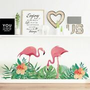 Wall Sticker Hand Painted Flamingo Couple Decals Grass Baseboard Home Decoration
