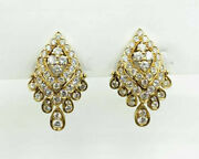 2.10ct Natural Round Diamond 14k Yellow Gold Butterfly Lock Dangler Earring
