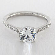 Round Cut 1.07 Ct Real Diamond Wedding Ring Solid 14k White Gold Size 6.5 7 8 9