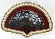 Japan Japanese Black Silk Fan W/ Hand Embroidered Avian And Foliates Ca. 20th C.