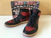 Nike Jordan 1 Sneakers With Box Retro Bred 1994 Red Black Us8.5 Chicago Shoes