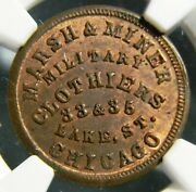 1863 Marsh And Miner, Military Clothing Civil War Token Ngc Ms 65 Rb R-6