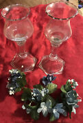 Vtg Set Of 2 Home Interior Glass Candle Holders With Optic Ribbed Votive Cups