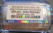 2014 Sealed Silver Eagle Roll Of 20 - Ngc Certified Gem Unc Early Releases