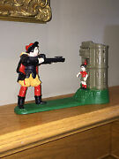 Vintage Cast Iron Mechanical Bank – William Tell And Apple – Stevens Reproduction