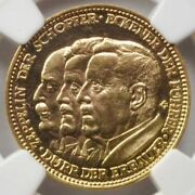 1929 Germany Weimar Republic Ngc-pf63 Gold Proof Zeppelin World Tour Medal