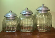 Vintage Ribbed Thick Glass Clear Canister Set Of 3 W/ Air Tight Metal Lids
