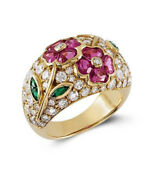 1.50ct Round Diamond 14k Solid Yellow Gold Ruby Emerald Gemstone Cocktail Ring