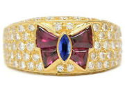 1.75ct Round Diamond 14k Solid Yellow Gold Ruby Sapphire Gemstone Cocktail Ring