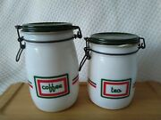 Set Of 2 Vintage Wheaton Milk Glass Canister Jars Green Red Wire Bail Closures