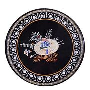 36 Inches Marble Dining Table Top Peitra Dura Art Conference Table For Office