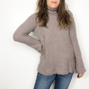 Hinge | Taupe Brown Ribbed Knit Turtleneck Sweater Womenand039s Medium Acrylic Blend