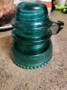 Hemingray-42 Heavy Clear Blue Green Glass Cover Paperweight Electric Insulators