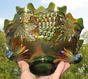 Fenton Grape And Cable Majectic Green Carnival Glass Ftd. Fruit Bowl