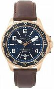 Menand039s Nautica Pilot House 45mm Leather Band Watch Napplh003