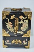 Vintage Black Lacquered Asian Jewelry Box Wood Brass And Mother Pearl 4-drawer 303