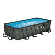 Summer Waves 18ft X 9ft X 52in Above Ground Rectangle Frame Pool Set For Parts