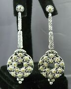 John Hardy Sterling Silver And 18k Y-gold Dangle Earrings Dot Circle Drop Rare