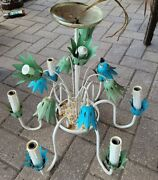 Vintage Italian Tole Flower Chandelier Painted Metal 6 Arms Floral Shabby Chic
