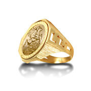 Jewelco London 9ct Gold Curb Links Octagon St George Ring Full Sov Size