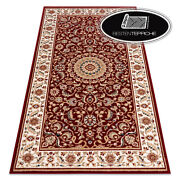 Modern Wool Rugs And039 Nainand039 Frame Rosette Ornament Red Wine Best Quality