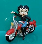 Rare 2001 Betty Boop Black Leather Red Motorcycle Gold Earrings Denim Figurine