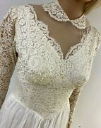 Antique Wedding Gown 2 Layer Tulle Lace Over Satin Lace Buttons Stunning