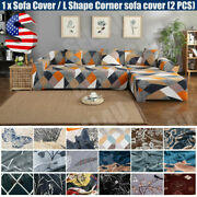 1/2x Stretch Sofa Covers Slipcover For L Shape Sectional Corner Couch Protector