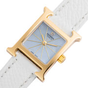 Auth Hermes Watch Mini H Hh1.185 K18yg White Shell Dial Caseh24xw17mm F/s
