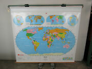 Vintage World Map School Pull Down Style Nystrom 66 Wide