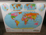 Vintage World Map School Pull Down Style Nystrom 66