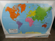 Vintage Double United States And World Map School Pull Down Style Nystrom 66