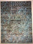 Hand-knotted Modern Art Silk And Wool Oriental Area Rug Bluegray 9x12