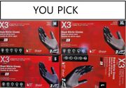 X3 Powder Free Black Nitrile Rubber Gloves 100/box 4 Size Available -pack Of 4